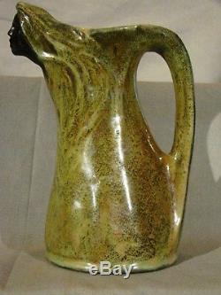 Signed Art Nouveau Firmin Michelet Green Fairy Pitcher Black Face Vase c. 1908