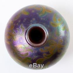 Signed Jacques Sicard Weller Vase Purple Green Yellow Iridescent Art Nouveau 5