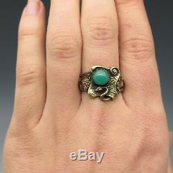 Size 9 Vintage Art Nouveau Style Snake & Green Art Glass Brass Ring
