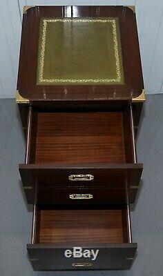 Small Harrods London Military Campaign Mahogany & Green Leather Filing Cabinet