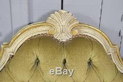 Small Vintage French Louis XV Canape Sofa (Olive Green) FREE UK DELIVERY