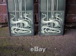 Solid Fuel Fireplace Tile Set (2 X 5 Tiles) Art Nouveau Ref An25 Bottle Green
