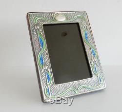 Solid Silver Art Nouveau Blue & Green Enamel Photograph Frame Hallmarked