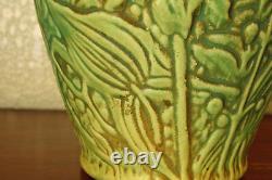 Spectacular Vintage Weller Pottery Marvo Flower Vase with Ferns Flowers & Foliage