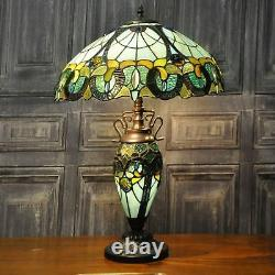 Stained Glass Metal Base Multi Colour Double Tiffany Lamp Table Bedside Light