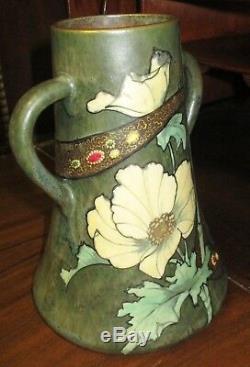 Stellmacher Teplitz Austrian Pottery Art Nouveau Jeweled Amphora Vase