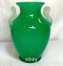 Steuben, Jade And Alabaster Double Handed Vase, Great Form, Excellent Condition