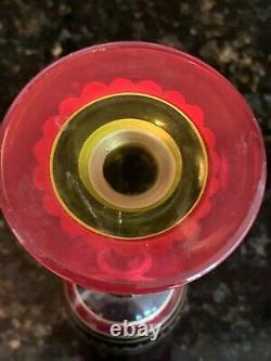 Stunning 1940s Moser Art Glass Set of 4 Vintage Gilded Crystal Goblets, MB382
