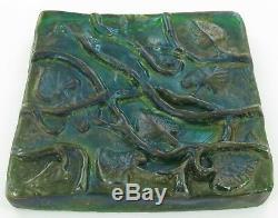 Stunning Antique Art Glass Art Nouveau Heavy Set Glass Tile. Possibly Tiffany