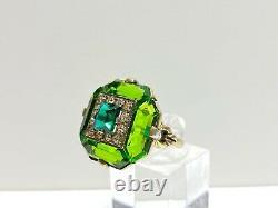Stunning Antique Art Nouveau Uncas Sterling Green Glass/Rhinestone Ring