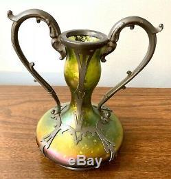 Stunning Antique Green KRALIK Loetz Iridescent Art Glass Vase Czech Pewter Case