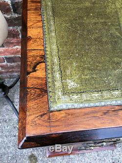 Stunning Antique Victorian Rosewood Marquetry Writing Desk Green Leather Top
