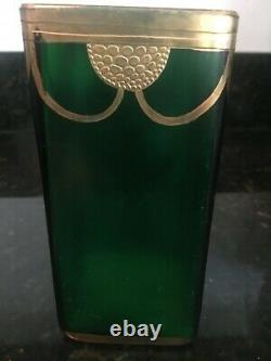 Stunning Art Nouveau Vase in Emerald Green & Relief with gold Decor, MB107