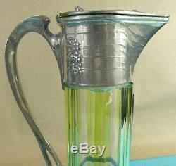 Stunning German Art Nouveau Pewter Green Glass Wine Jug Leaf Berry Orivit C1905