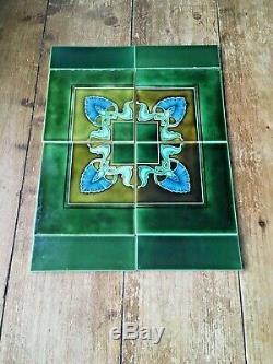 Stunning Green Original Art Nouveau Reclaimed Fireplace Tiles Minton Interest