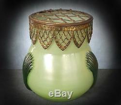 Stunning Kralik Gilt Mounted Milk Glass Trailed Posy Vase