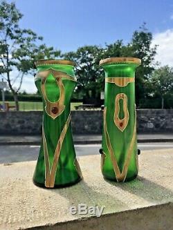 Stunning Rare Secessionist Bohemian Art Nouveau Green & Gold Cabochon Vase Moser