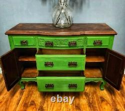 Stunning Vintage Green Art Nouveau Solid Sideboard