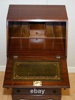 Stunning Vintage Mahogany Bureau Desk With Green Leather Inside