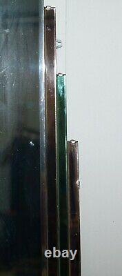 Sublime 1930's Art Deco Peach & Green Glass Bevelled Manhattan Decor Mirror