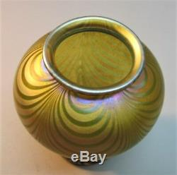 Superb 4 QUEZAL ART NOUVEAU MINIATURE Art Glass Vase Loops c. 1910 antique