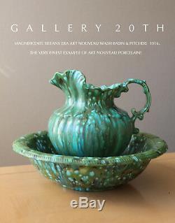 Superb! Art Nouveau Pottery Wash Basin & Pitcher! Art Deco 1916 Montoya Vtg