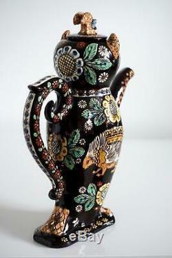 Superb Thoune Pottery Swiss Majolica Owl Form Lidded Jug c. 1900