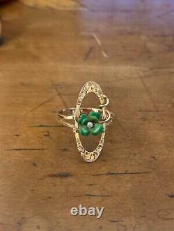 Sweet Shamrock And Seed Peal Green Enamel Art Nouveau Conversion Ring /Pendant