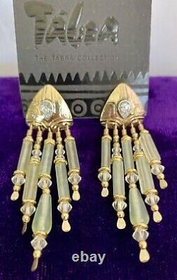 TABRA Topaz Gold Filled Green Jade & Crystal Dangle Art Nouveau Signed Earrings