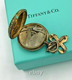 TIFFANY & CO. TIFFANY & CO. Watch ANTIQUE, 18K YELLOW GOLD, ENAMEL LAPEL