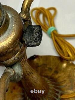 TIFFANY STUDIOS AGED DORE' BASE w GREEN DAMASCENE STYLE 7 ART SHADE HEAT CAP