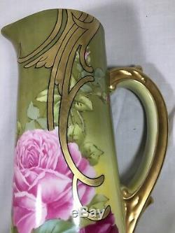 T&V (France) 14.25 Inch Hand Painted YellowithGreen EWER- Pink Roses Signed Roby