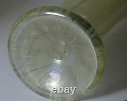 Tall 1981 Vandermark Studios Green Pulled Feather Iridescent Aurene 0448 Vase