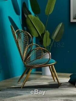 Teal Green and Gold Painted Steel Peacock Chair Art nouveau Style Occasion Chair