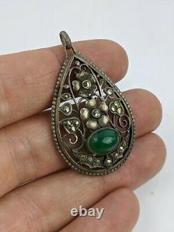 Theodor Fahrner Art Nouveau Jugendstil Silver Pendant Green Stone German TF 800