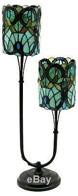 Tiffany Lamp Twin Stem Blue Green Pattern Double Table Light Electric 67cm