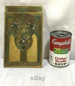 Tiffany Studios, Abalone Note Pad, Gold Patina, Poly Chrome Red Green Accents