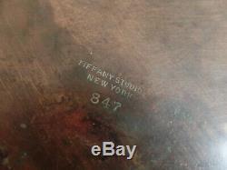 Tiffany Studios Bronxe Pine Needle & Green Slag Glass Inkwell