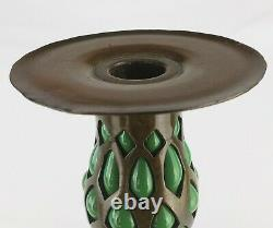 Tiffany Studios Bronze And Blown Green Glass Candlestick Holder 25121 Unsigned
