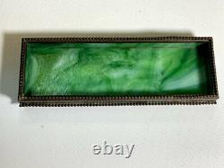 Tiffany Studios Bronze & Favrile Glass Pen Tray