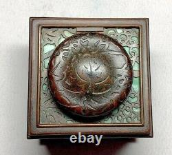 Tiffany Studios, Grapevine 3 Inkwell Green Favrile Glass, Outstanding Patina