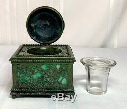 Tiffany Studios, Grapevine 4 Beaded Inkwell, Green Glass, Green Brown Patina