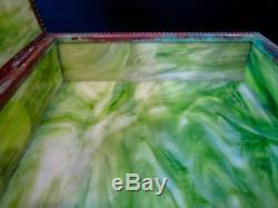 Tiffany Studios Grapevine/Pine Needle with Green Slag Glass Handkerchief Box