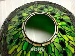 Tiffany Studios Inspired Green Dragonfly Cone On Bronze Artichoke Base, 3 Lights