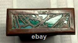Tiffany Studios, Pine Needle Card Box, Single Deck, Green Glass Patina, Htf Item