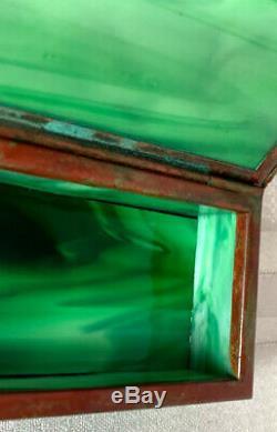 Tiffany Studios, Pine Needle Stamp Box, Green Glass, Patina, Early Beaded Border