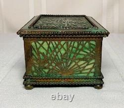 Tiffany Studios, Pine Needle Utility Box, Green Patina Favrile Glass, Beaded