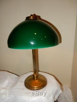 Tudor Arts & Crafts Nouveau Pittsburgh Table Lamp w Cased Green Shade