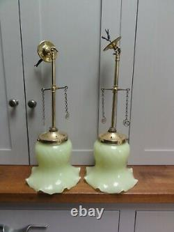 Two matching converted Antique brass ceiling lights green glass bell shades