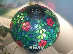 Unique Handel Art Nouveau Leaded Slag Glass Lamp Tiffany Studios Era